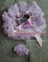 Wholesale Bags For Cars - car New arrival lavender baby tutus headband flower two piece baby shower gift gift bags for baby showers