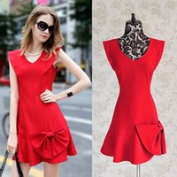 Wholesale Chiffon Dresses For Dinner - Ladies Sexy Red Cocktail Dress for women evening dresses bow front dress sheath demitoilet dinner for summer