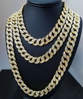 Wholesale 18k Gold Cuban Link Chain - Iced Out Bling Rhinestone Crystal Goldgen Finish Miami Cuban Link Chain Men's Hip hop Necklace Jewelry 20, 24, 30 ,36 Inch