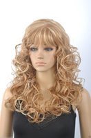Wholesale Blonde Haired - 100% Hot Sell Brazil dark-haired woman wig cosplay Heat Resistant synthetic??New wig Fashion Women Dark Blonde Mix Long Wigs Curly Wig With