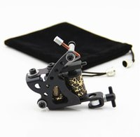 Wholesale tattoo rotary iron - Wholesale Coil Tattoo Machine 10 Wrap Coils Tatoo Gun Black Steel Tattoo Frame for Liner Shader