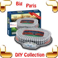 Wholesale Soccer Puzzles - New Arrival Gift Paris S Football Club Princes 3D Puzzle Model Stadium Soccer Pitch Field Puzzle DIY PUZ Game Collection Football Toy