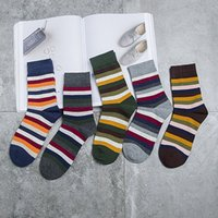 Wholesale Direct Hits - HANADASOX Winter New Japanese hit color striped cotton men's socks men in tube socks wholesale factory direct sales