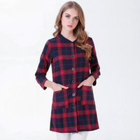 Wholesale Office Tops For Ladies - 2017 Shirts Blouses For Women Fashion Checkered Plaid Tops Shirt Eegant Long Sleeve Casual O-Neck Slim Plus Size Office Ladies Blouse
