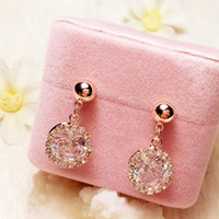 Alta calidad 925 Silver Silver Elegant Fashion Stud Charms Pendientes Rose Gold Round Zircon Dangle Flower Diamond Bohimian Bride Jewelry Girl