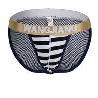 Wholesale Lycra Bulges - Men Striped Cotton Thong WJ Fashion Sexy Breathe Comfort Underwear Briefs Protect Penis Design Bulge Pouch String Bikini Briefs