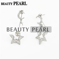 Bulk of 3 Pairs Moon and Star Associated Pearl Earring Configurações Zircon 925 Sterling Silver Earrings Base