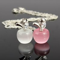 Wholesale Diamant Necklace - Fashion Woman Girl Jewelry Silver Chain Clear Pink Opal Apples Necklace Pendants Crystal Faux Diamant Lovely Necklaces Hotting