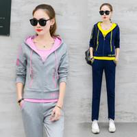 Wholesale Korean Women Fashion Suits - A Three-Piece Autumn Casual Outfit New Women'S Fashion Leisure Suit Korean Hoodies Top Vest Pants Street Wear Student Quality