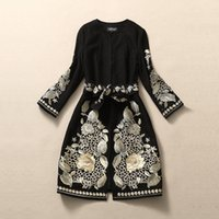 Wholesale Winter Jacket Designer Women - Wholesale-HIGH QUALITY 2016 Fall Winter NEW Runway Coat Women's Designer Black Gold Floral Embroidery Long Sleeve Elegant Jackets