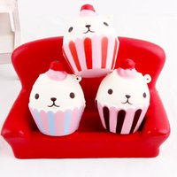 Wholesale Piece Mobile - Hot sell squishy little bear ice cream cup cake hang piece pu slow rebound relief toy mobile phone hangings