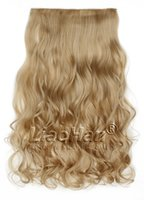 Wholesale Brown Frosted Hair Extensions - One Piece Clip in Hair Extensions Clip on Hairpieces Synthetic Hair Brown mixed Blonde Hair Extensions