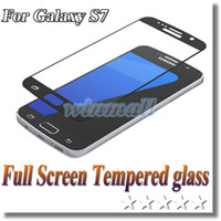 Wholesale colorful tempered glasses online – Galaxy S7 Full Cover Tempered Glass D mm width Colorful Screen Protector Film With Retail Package