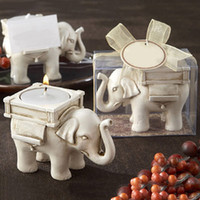 Wholesale Ivory Elephant Candle Holder - 50pcs lot Hot Sale Bridal Wedding Shower Favor Gift Ivory Fun Elephant Tea Light Candle Holder With Elegant Packaging ZA0856