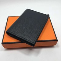 Wholesale Mini Folding Card - 2016 Hot Sale Genuine Leather Business Cards Holders Fashion New Multi Colors Cards Package Short Style Folds Credit Card Holder