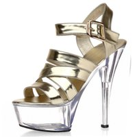 Wholesale Runway Stage - Sexy buckle handsome 15 cm super high heels with stage 1 fine fashion runway shoes, sandals