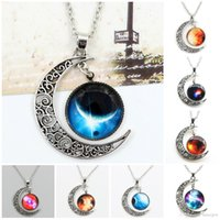Wholesale Space Glasses - Chokers Necklace Swarovski Starry Outer Space Universe Gemstone Silver Chain Moon Necklaces Pendant Galaxy Half Crescen Glass Moon Necklace