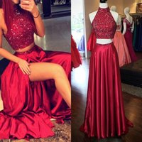 Wholesale Sexy White Exquisite Top - 2016 Exquisite Beaded Top Long Dark Red Homecoming Dresses Two Pieces High-neck A Line Satin Crystal Vestidos De Formatura Curto