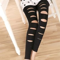 Wholesale Slim Girls Sexy Leggins - 2016 Fashion European Style Black Leggings with Holes Sexy Ripped Skinny Pants Stretch Slimming Leggins Trousers for Women Girls