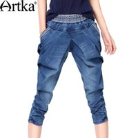 Wholesale pleated pants cropped - 201711 Artka Women's Summer Slim Fit Embroidery Mid-Calf Jeans Vintage All-match Harem Cropped Jeans KN14535X
