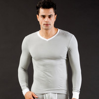 Wholesale Underwear Men S T Shirt - 2016 Men's winter warm Thermal underwear modal cotton T shirt Tops Sexy warm Undershirt underwear (not include pants)