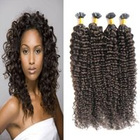 Wholesale Wholesale Fusion Human Hair Extensions - Mongolian kinky curly hair 200g Human Fusion Hair Nail U Tip 100% Remy Human Hair Extensions 200s keratin stick tip