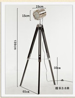 Wholesale Wooden Base Lamp - Modern Brief Wooden Tripod Triangle Lifting Adjustable Base Black Metal Lamp Head SearchLights Floor Lights Lamp with Net Cover
