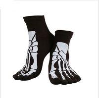 Wholesale Punk Skull Print - Wholesale-10 colors Punk Rock Men's 3D print terror skeleton toe socks Hip Hop scary skull five finger odd sox bone male sport short