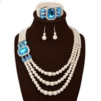 Wholesale Light Blue Pearl Necklace - European American Fashion Pearl Jewelry Set Bracelet Necklace Earring Diamond Gemstone Wedding Bride Jewelry 3 Set