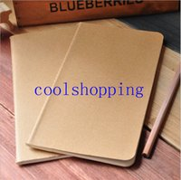 Wholesale Kraft Paper Notebooks Notepads - cowhide paper notebook blank notepad book vintage soft copybook daily memos Kraft cover journal notebooks