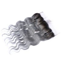 Wholesale European Two Tone Hair - Silver Grey Ombre Mongolian Human Hair Lace Frontal Closure With Baby Hair Body Wave #1B Grey Two Tone Ombre Full Lace Frontals 13x4