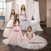 Wholesale Cute Beautiful Images - Jewel Ball Gown Sweep Train Tulle Beaded Appliques Bow Wedding Dresses Beautiful Cute Flower Girl Dresses