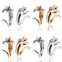 Wholesale Young Women Jewelry - 10Pcs Lot Wholesale Women Young Girl Child Gifts Adjustable Silver Plated Cat Ring Design Cute Fashion Jewelry Cat Rings