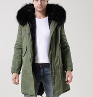 Wholesale Blue Rabbit Jacket - Mr&mrs Classic Green cotton jacket man Long Parkas Raccoon furs collar , rabbit furs lining mens down jacket for cold winter