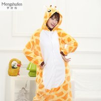 Wholesale one piece pajamas for adults - Wholesale- Winter Flannel Warm Animal Pajamas One Piece For Adult Cosplay Cartoon Giraffe Sleepwear Home Clothes Couple Pajama Sets