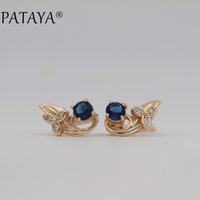 Pendientes De Jade Azul Natural Baratos-PATAYA Charm Vintage Earrings 585 Rose Gold Blue Natural Zirconia Cúbico Flower Drop Earrings Exclusivo Beautiful Accessories