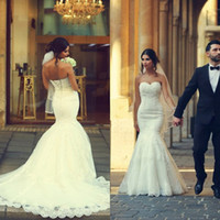 Wholesale Sweetheart Corset Top Wedding Dress - 2016 Arabic Vestido De Novia Mermaid Wedding Dress Sweetheart Neckline Sleeveless Lace Appliques Bridal Gowns Corset Back Top Quality