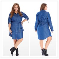 Wholesale Plump Plus Size - Hot pockets single-breasted lacing cowboy long shirt lapel long sleeve denim shirt dress jeans dresses for plump women plus size 6XL