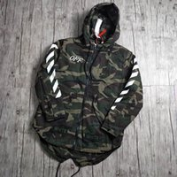 Wholesale Military Style Winter Coats Men - New OFF WHITE Jacket Men And Women Classic Stripes Printing Baseball Jersey Jackets Winter Military Style Coat Camouflage Outerwear