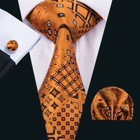 Cravates Hommes Cravates Classci Soie Cravates Mens Cravates Or Cravates Cravates Hanky ​​Boutons de manchette Jacquard Woven Meeting Business Wedding Party Gift N-1517