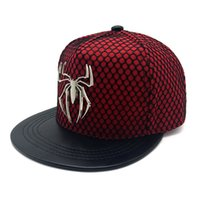 Wholesale Iron Nets - New fashion iron man Hats Spider man women Flat Net leather brand Hip Hop Cap Lovers cotton summer winter snapback baseball caps