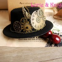 Catena all'ingrosso-Steampunk Gear Clock Mini cappello superiore Cosplay Lolita Fedoras cappello nero marrone-rosso