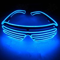 Wholesale shutter glowing sunglasses resale online - Flashing LED Light Up Shutter EL Wire Glasses Glow Frame Sunglasses Dance Party Halloween Lighting Nightclub Q0064