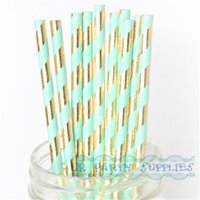 Wholesale Mint Wedding Decor - 250pcs Paper Straw Mint Green Gold Foil Striped Paper Straws Bling Bridal Shower Brunch Glam Baby Shower Decor Wedding Straws