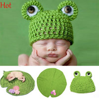 Wholesale Newborn Knit Frog Hat - Lovely Baby Girls Boy Photograph Props Newborn Knit Crochet Clothes Romper Animal Frog Infant Hat Photo Prop Outfit Green Baby Costume 18828