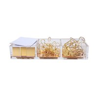 Wholesale Story Cubes - Clarity Gold Notes Holder with Cube Memo Pad 320 Sheets, Acrylic 3 in 1 Drawer Organizer by Draymond Story (Clips Not Include)