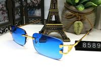 metall beine box großhandel-Mode Sonnenbrille Brille Randlose Rahmen Optische Sonnenbrille Buffalo Metall Beine Rahmen Marke Designer Brille Mit Fall und Box