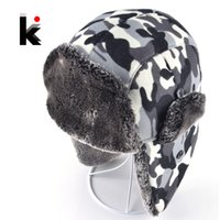 Wholesale Lei Feng Hat - Wholesale-2016 New Soviet Bomber Hat Camo Men Ear Cap Lei Feng Cap Cold Winter Outdoor Sports Men's Ski Cap Male Hats For Men