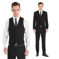 Wholesale Tux Button Vest - 2016 custom made Slim Fit Suits black tux Notch Lapel three pieces sexy Groom Tuxedos Men formal evening Wedding wear (coat+pants+vest)