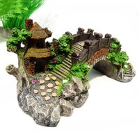 Wholesale Fish Gifts - New Aquarium Decoration Bridge Pavilion Tree For Fish Tank Resin Ornaments Gifts